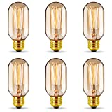 6er Vintage Edison LED Glühbirne, GreenSun LED Lighting E27 T45 Antike 40W LED Filament Lampe Dimmbar, Ideal für Nostalgie und Retro Beleuchtung