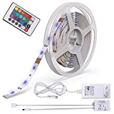 B.K.Licht LED Strip 5m, LED Stripes, Lichterkette, Band, Streifen, LED Leiste, LED Lichtleiste, LED Bänder, Lichterkette LED, weiß, bunt, inkl. Fernbedienung, inkl. Farbwechsel, selbstklebend